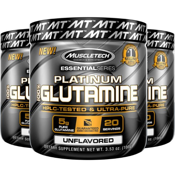 Kit 3 Platinum Glutamina 100% pura da Muscletech 400g