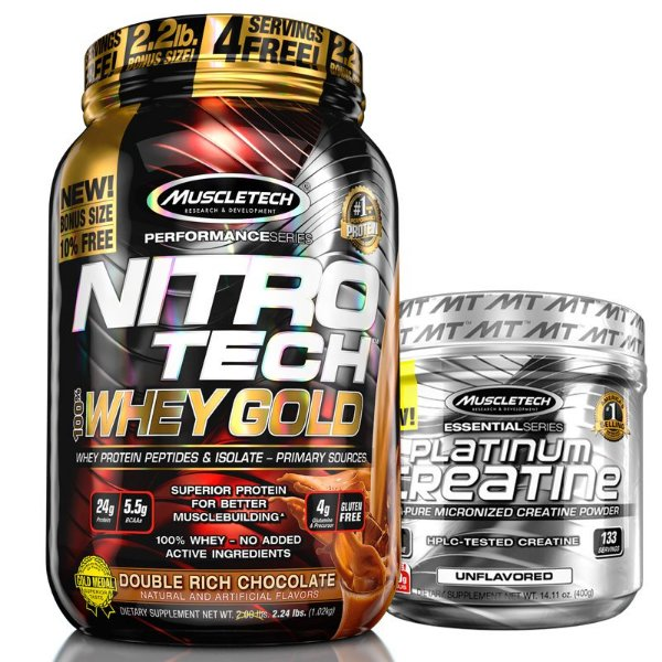 Kit Nitro tech Whey e Creatina Muscletech 997g Chocolate