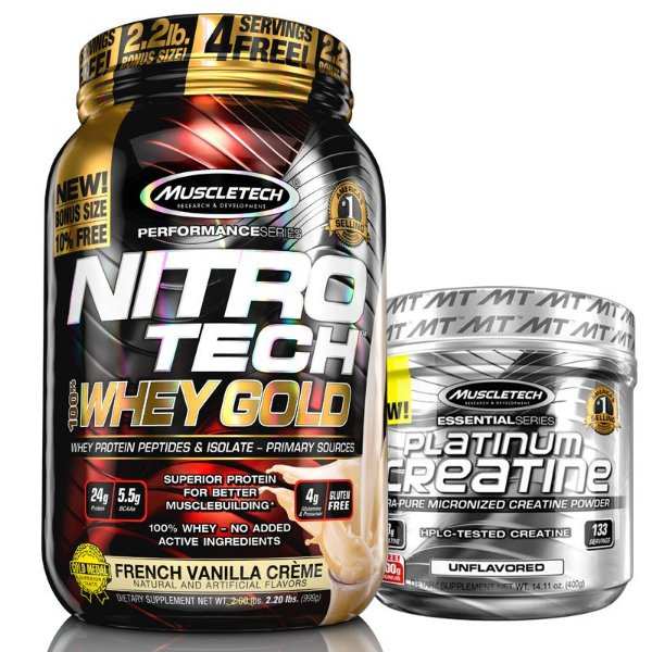 Kit Nitro tech Whey e Creatina Muscletech 997g Baunilha