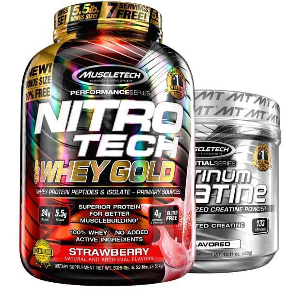 Kit Nitro tech Whey e Creatina Muscletech 2.5g Chocolate