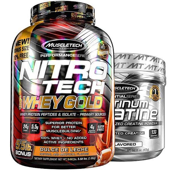 Kit Nitro tech Whey e Creatina Muscletech 2.5g Doce de leite