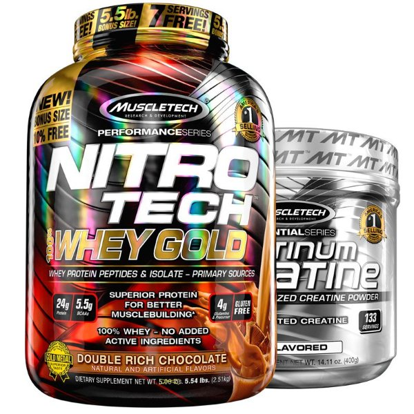 Kit Nitro tech Whey e Creatina Muscletech 2.5g Double chocolate