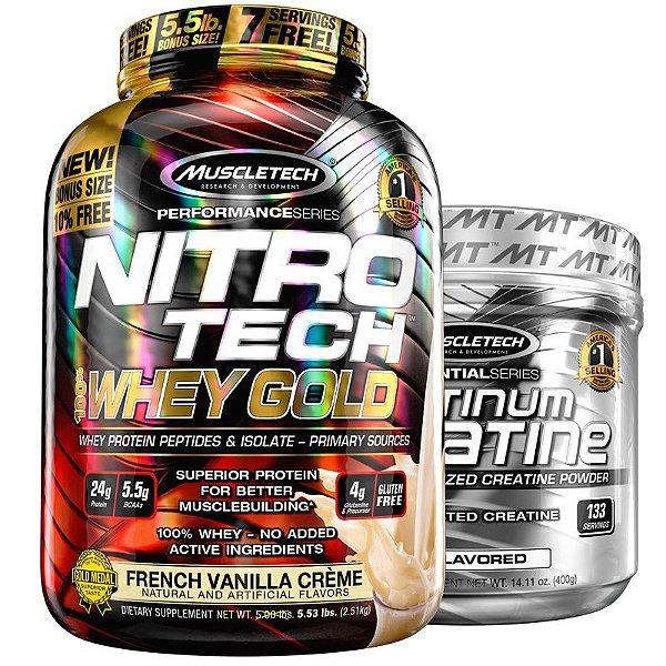 Kit Nitro tech Whey e Creatina Muscletech 2.5g Baunilha