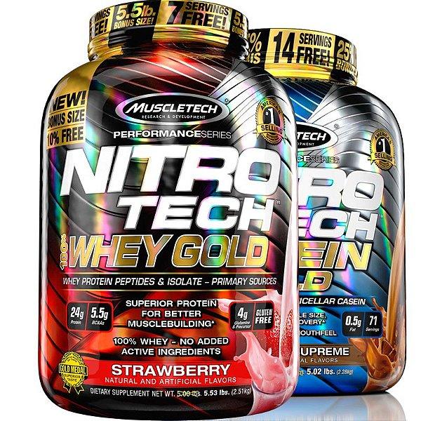 Kit Nitro tech Whey protein e Caseina Muscletech 2,5kg Morango e chocolate