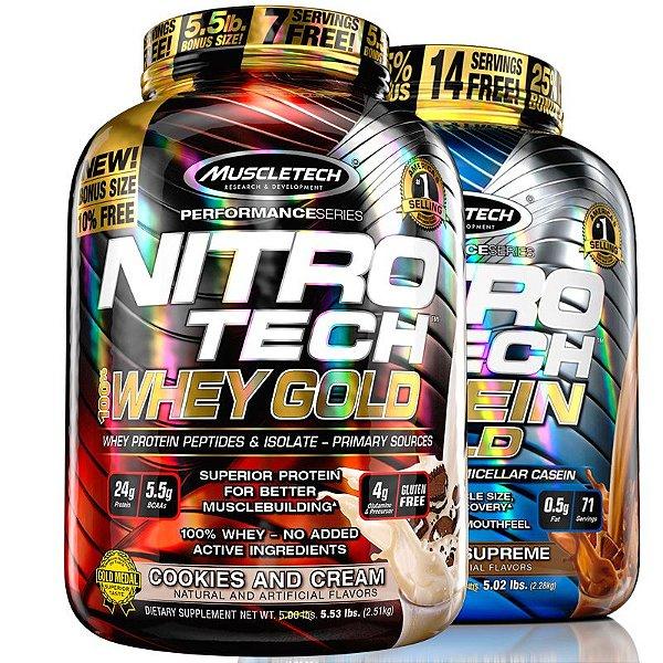 Kit Nitro tech Whey protein e Caseina Muscletech 2,5kg Cookies e Chocolate