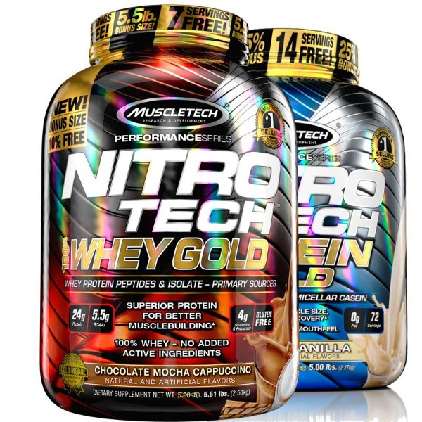 Kit Nitro tech Whey protein e Caseina Muscletech 2,5kg Cappuccino e Baunilha