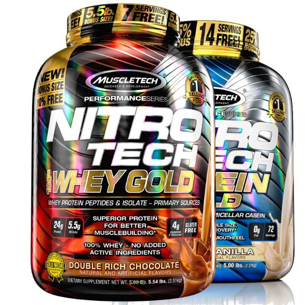 Kit Nitro tech Whey protein e Caseina Muscletech 2,5kg Chocolate e Baunilha