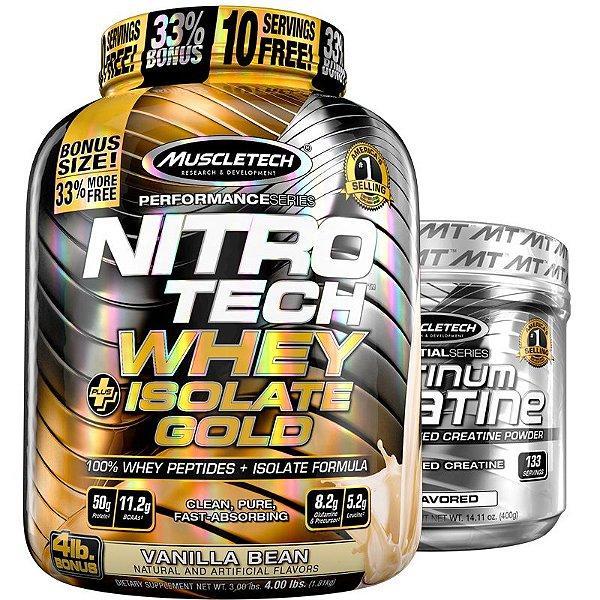Kit Nitro tech Whey isolado e Creatina Muscletech 1,8kg Baunilha