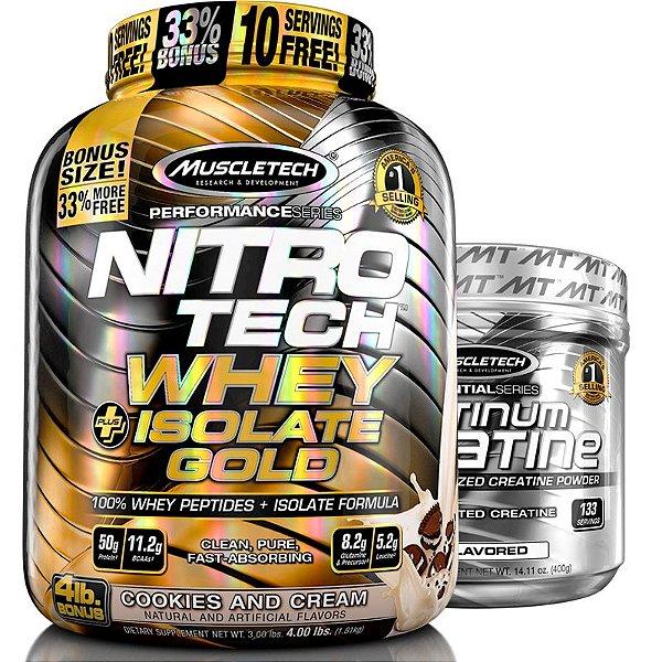 Kit Nitro tech Whey isolado e Creatina Muscletech 1,8kg Cookies