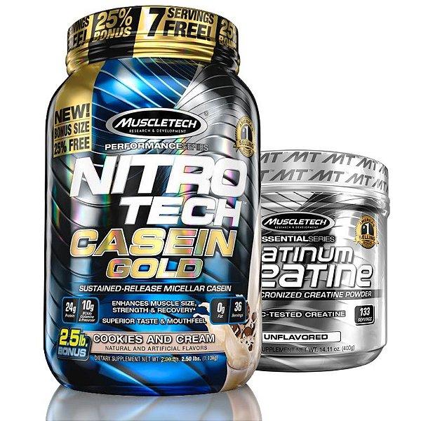 Kit Nitro tech Whey e Creatina Muscletech 1.2kg Cookies