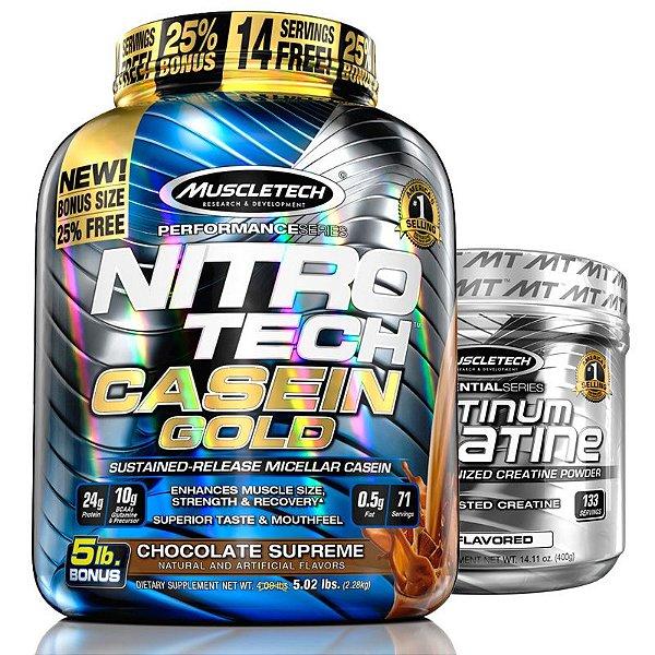 Kit Nitro tech Caseína e Creatina Muscletech 2,3kg Chocolate