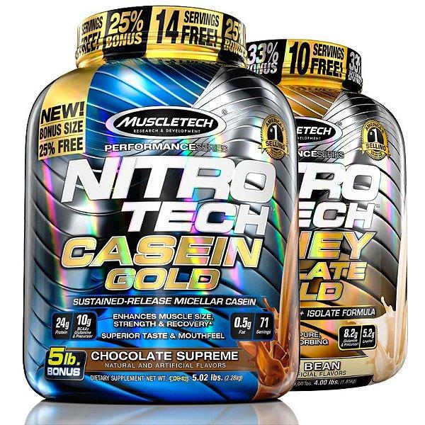 Kit Nitro tech Caseína e Whey isolado Muscletech 4kg Choco