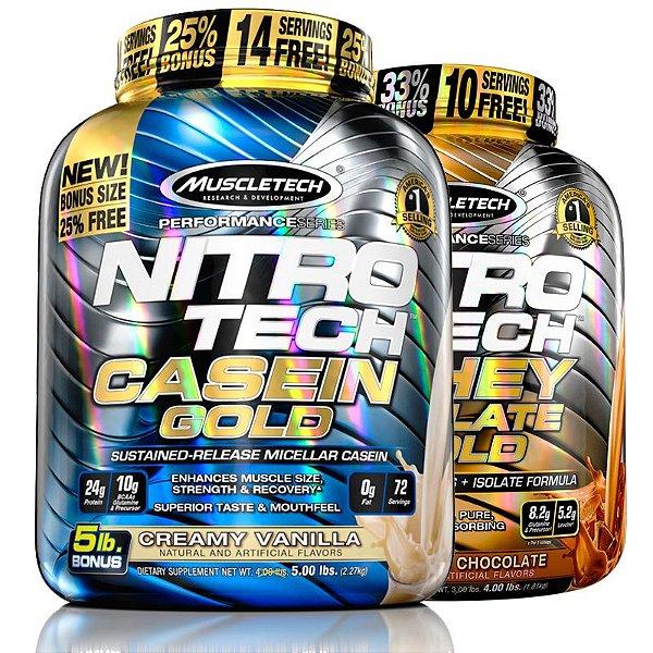 Kit Nitro tech Caseína e Whey isolado Muscletech 4kg Baunilha