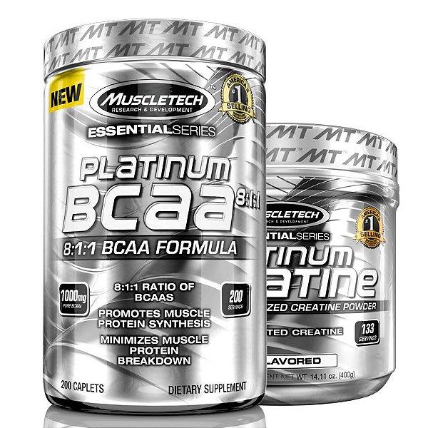 Kit Platinum Bcaa 8:1:1 200 tablets e Creatina Muscletech
