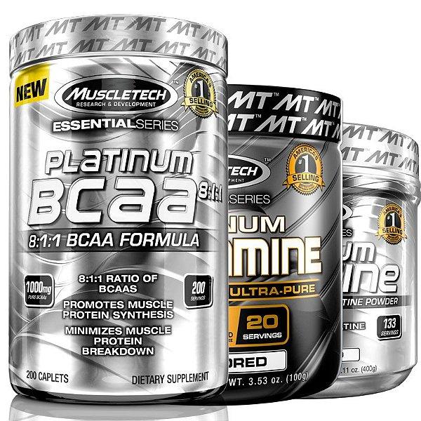 Kit Platinum Muscletech Bcaa 8:1:1 Creatina e Glutamina
