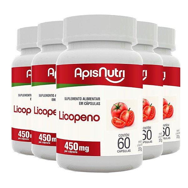 Kit 5 Licopeno de tomate Apisnutri 60 cápsulas