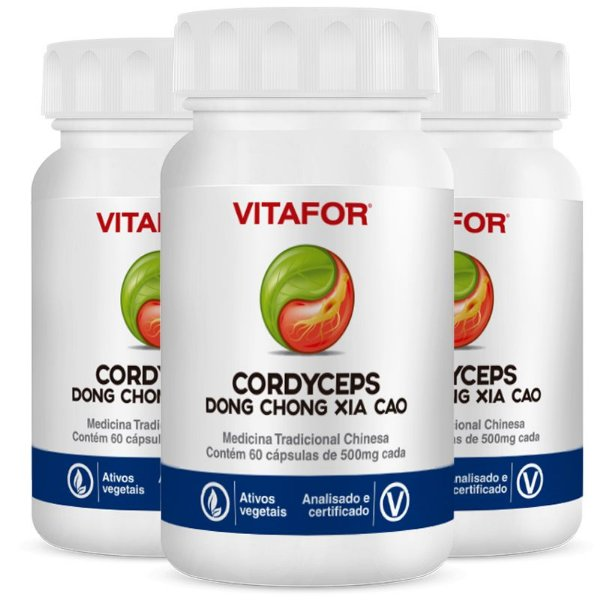 Kit 3 Cordyceps 500mg 60 Cápsulas MTC Vitafor