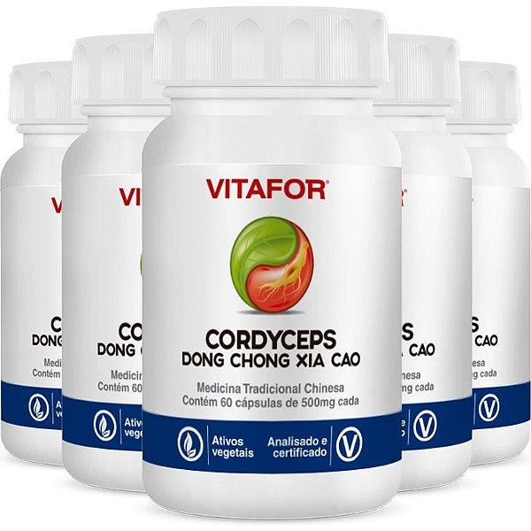 Kit 5 Cordyceps 500mg 60 Cápsulas MTC Vitafor