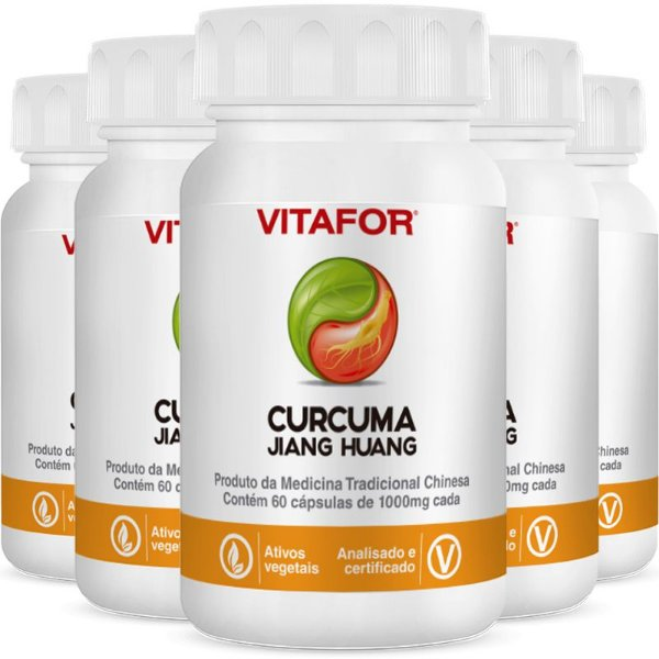 Kit 5 Curcuma 1000mg 60 Softgels 60g MTC Vitafor