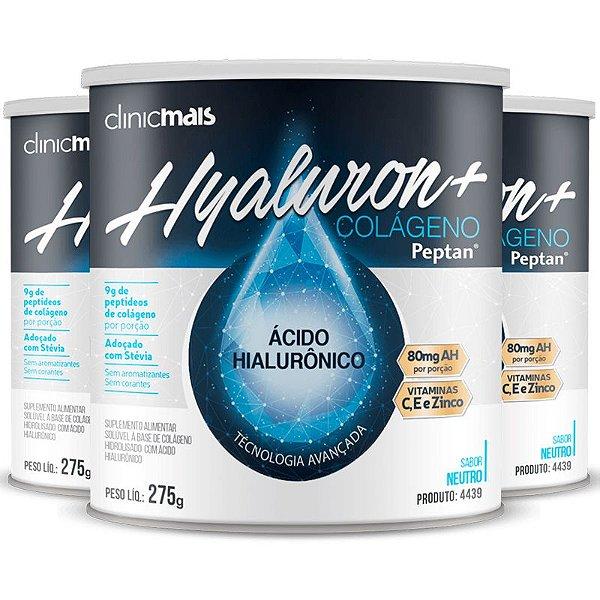 Kit 3 Hyaluron+ Colágeno com Ácido Hialurônico ClinicMAIS 275g