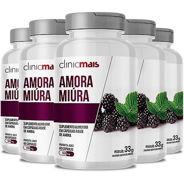 Kit 5 Amora Miura 500mg ClinicMais 60 cápsulas