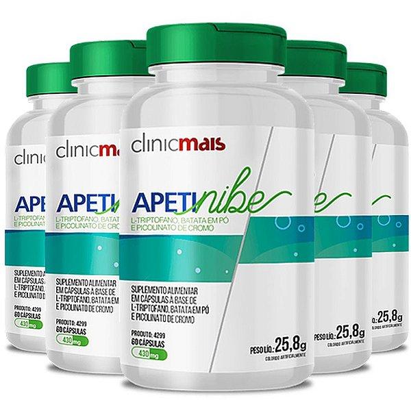 Kit 5 APETINIBE L-Triptofano 450mg ClinicMais 60 cápsulas