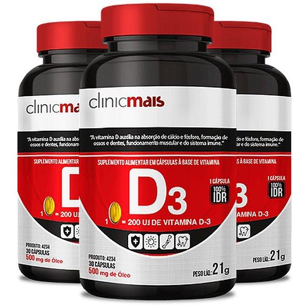 Kit 3 Vitamina D3 500mg ClinicMais 60 cápsulas