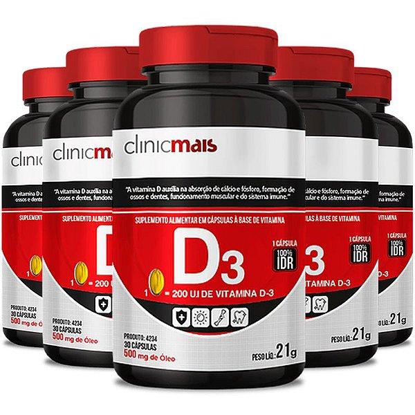 Kit 5 Vitamina D3 500mg ClinicMais 60 cápsulas