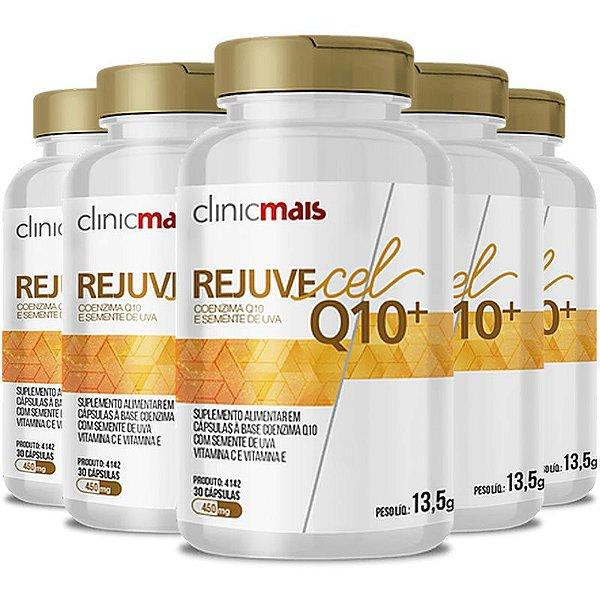 Kit 5 Rejuvecel Q10+ Coenzima Q10 e Semente de Uva ClinicMais 30 cápsulas