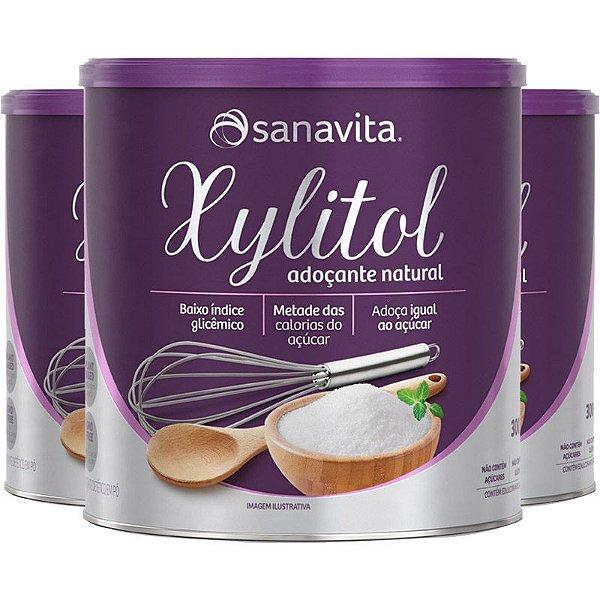 Kit 3 Xylitol Adoçante Natural 300g Sanavita Sem Lactose