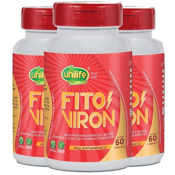 Kit 3 Fito Viron Maca Amarela e Negra + Vitaminas 60 cápsulas Unilife
