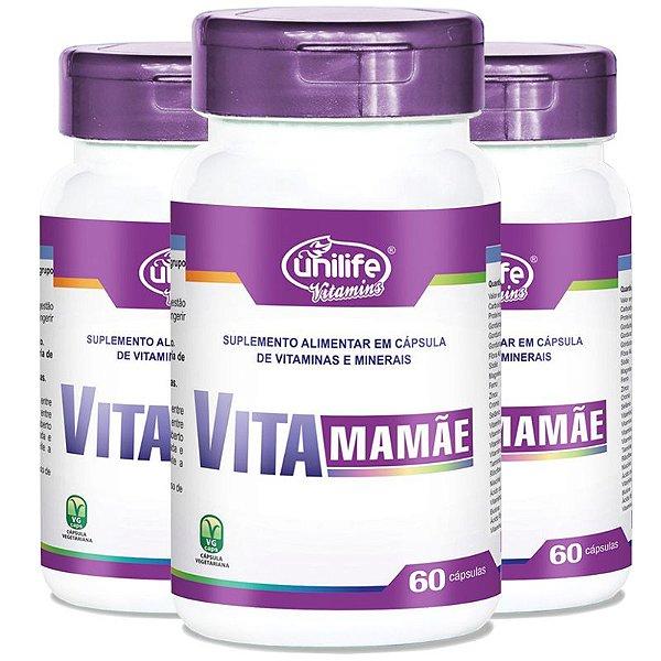 Kit 3 Vita Mamãe Complexo polivitamínico 60 cápsulas Unilife