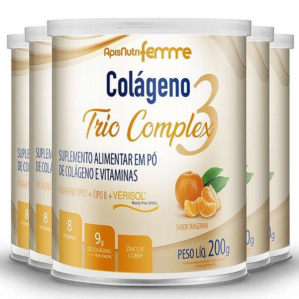 Kit 5 Colágeno tipo 2 + 1 Verisol Trio complex Apisnutri tangerina 200g