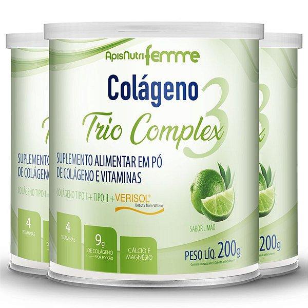 Kit 3 Colágeno tipo 2 + 1 Verisol Trio complex Apisnutri limão 200g