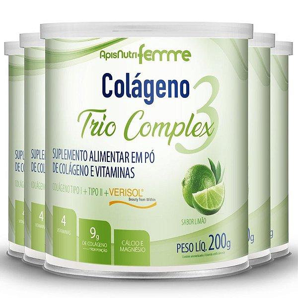Kit 5 Colágeno tipo 2 + 1 Verisol Trio complex Apisnutri limão 200g