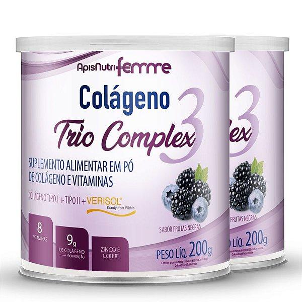 Kit 2 Colágeno tipo 2 + 1 Verisol Trio complex Apisnutri frutas negras 200g