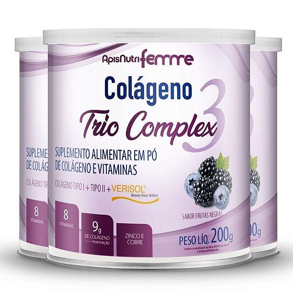 Kit 3 Colágeno tipo 2 + 1 Verisol Trio complex Apisnutri frutas negras 200g