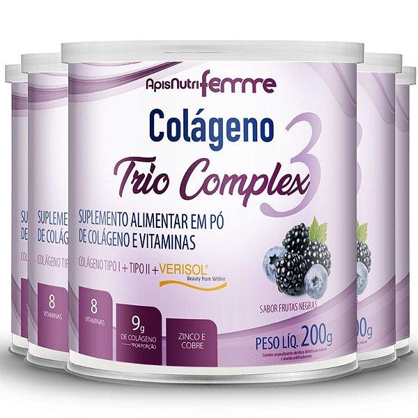 Kit 5 Colágeno tipo 2 + 1 Verisol Trio complex Apisnutri frutas negras 200g