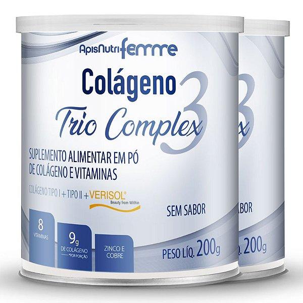 Kit 2 Colágeno tipo 2 + 1 Verisol Trio complex Apisnutri sem sabor 200g