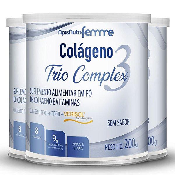 Kit 3 Colágeno tipo 2 + 1 Verisol Trio complex Apisnutri sem sabor 200g