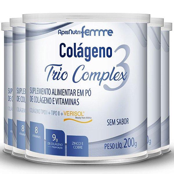 Kit 5 Colágeno tipo 2 + 1 Verisol Trio complex Apisnutri sem sabor 200g