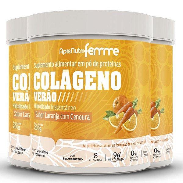 Kit 3 Colágeno Verão Apisnutri Laranja com Cenoura 200g