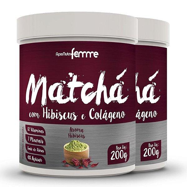 Kit 2 Matchá Solúvel Apisnutri Sabor Hibiscus 200g