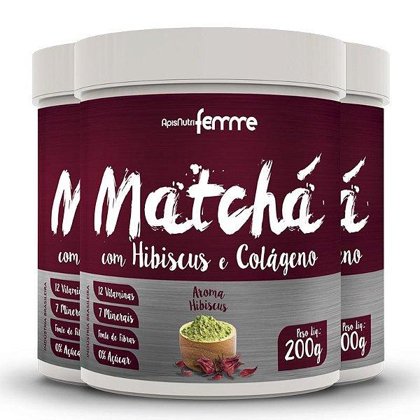 Kit 3 Matchá Solúvel Apisnutri Sabor Hibiscus 200g