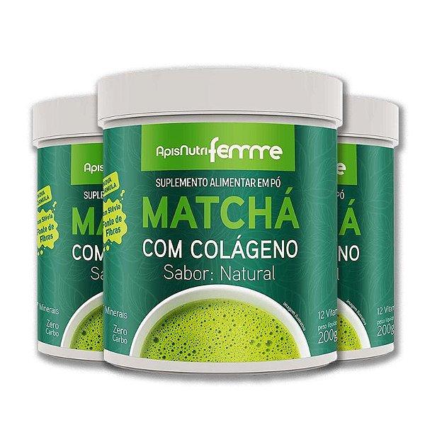Kit 3 Matchá Solúvel Apisnutri Sabor Natural 200g