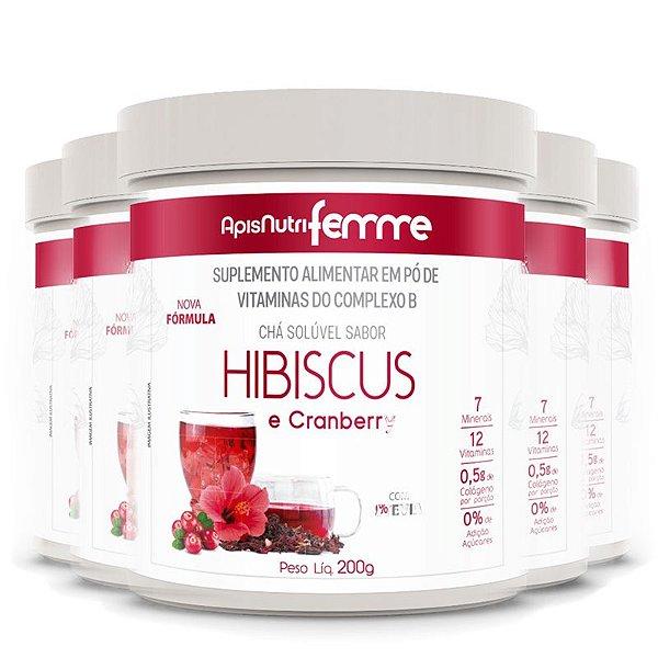 Kit 5 Chá de Hibiscus Solúvel Cranberry Apisnutri 200g