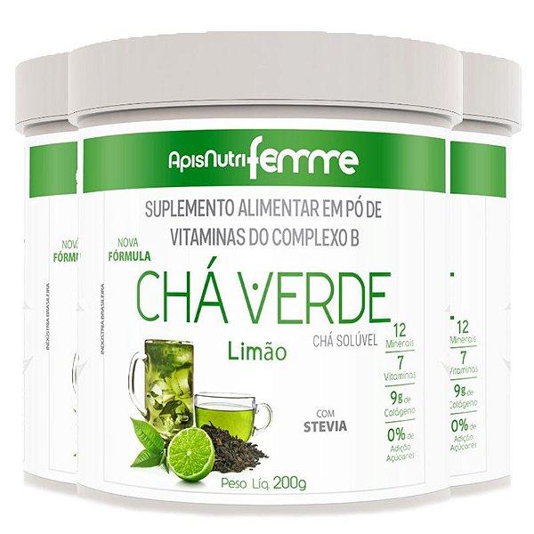 Kit 3 Chá Verde Solúvel Limão Apisnutri 200g