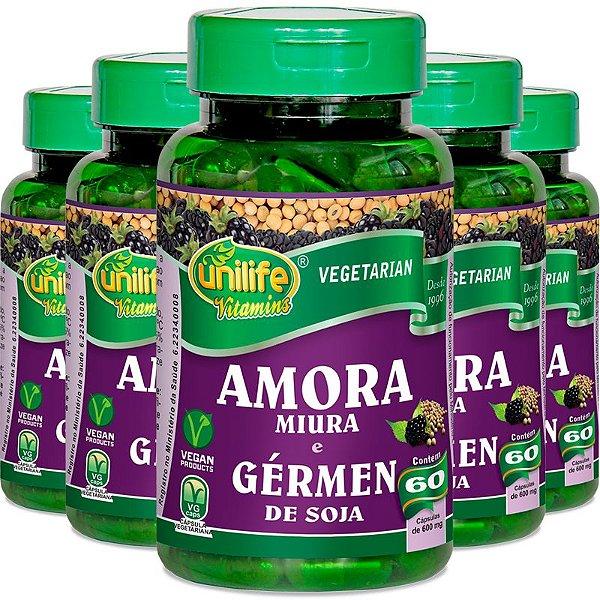 Kit 5 Amora Miura e Gérmen de Soja Unilife 60 cápsulas