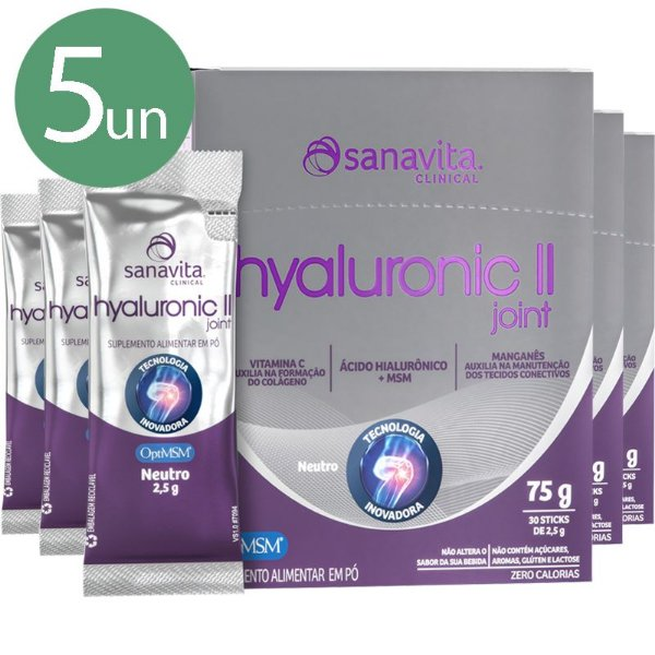 Kit 5 Hyaluronic Joint 2 II Ácido Hialurônico + MSM 900MG + Colágeno Tipo 2 Sanavita