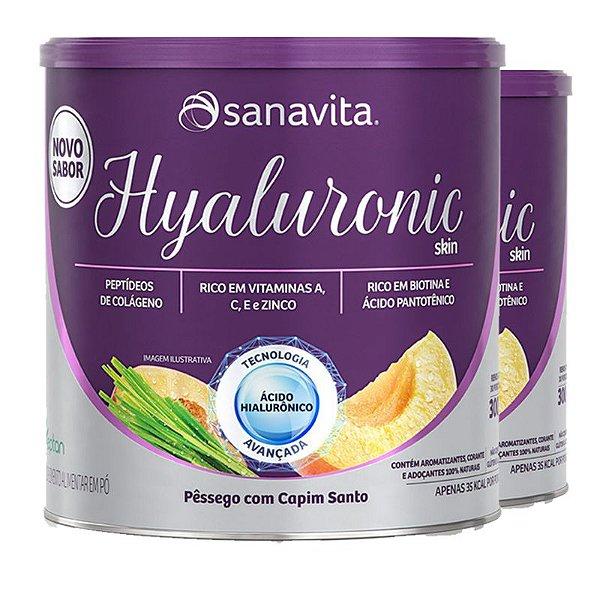 Kit 2 Hyaluronic Skin Ácido Hialurônico + Colágeno Sanavita Pêssego 300g